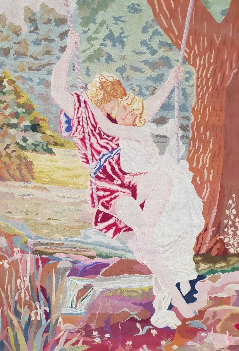 Romantische Kunst Nouveau Tapisserie oder Wandbehang, Liebespaar in einer Schaukel darstellt 2