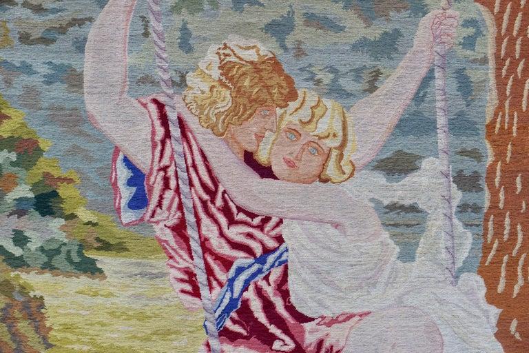 Romantische Kunst Nouveau Tapisserie oder Wandbehang, Liebespaar in einer Schaukel darstellt 3
