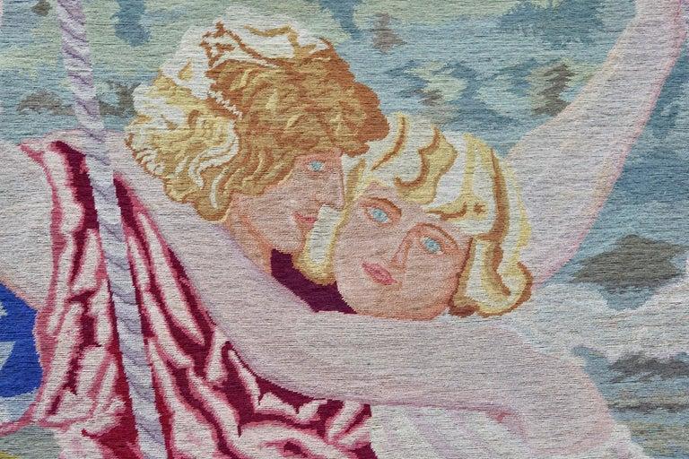 Romantische Kunst Nouveau Tapisserie oder Wandbehang, Liebespaar in einer Schaukel darstellt 4