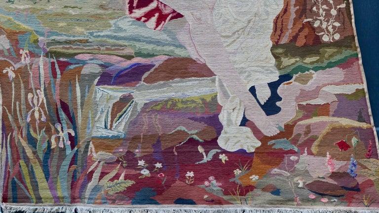 Romantische Kunst Nouveau Tapisserie oder Wandbehang, Liebespaar in einer Schaukel darstellt 5