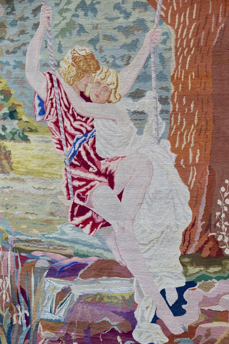 Romantische Kunst Nouveau Tapisserie oder Wandbehang, Liebespaar in einer Schaukel darstellt 7