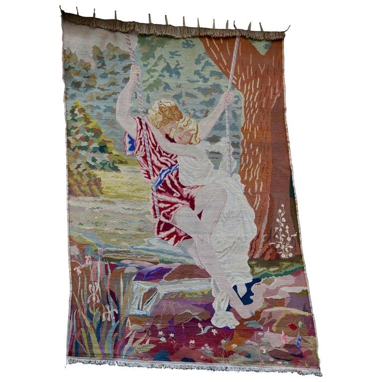 Romantische Kunst Nouveau Tapisserie oder Wandbehang, Liebespaar in einer Schaukel darstellt 1