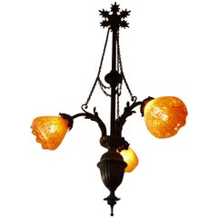 Romantic Art Noveau Bronze and Tangerine Glass Chandelier