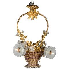 Romantic Biedermeier 5-Lights Brass Flower Basket Chandelier with Glass Roses