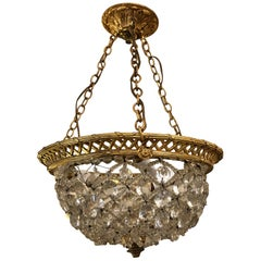 Romantic Crystal Encrusted Small Dome-Shaped Chandelier