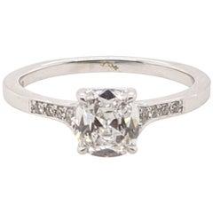 Romantic Cushion Cut Vintage Style D Si2 'GIA' Diamond Ring 18 Karat White Gold