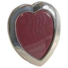Romantic English Sterling Silver Heart Shaped Photograph Frame, 1899