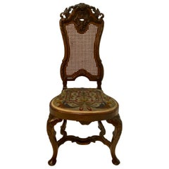 Romantic European Ornately Carved & Caned Side Chair with Needlepoint Seat