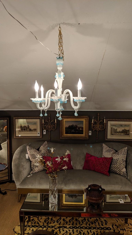 Italian Romantic Fancy White and Aqua Murano Chandelier  For Sale