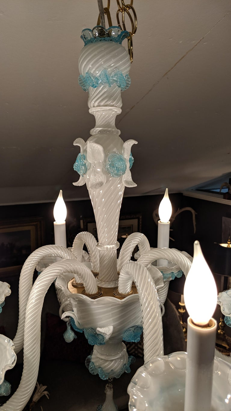 Late 20th Century Romantic Fancy White and Aqua Murano Chandelier  For Sale