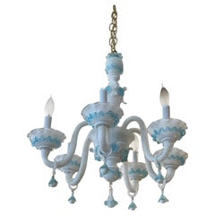 Romantic Fancy White and Aqua Murano Chandelier
