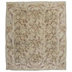 Romantic Floral Room Square Size Neutral Color European Carpet