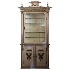 Romantic French 19th Century Creamy White and Gold Corner Cabinet Cupboard