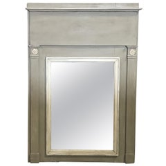 Romantic French Antique Trumeau Mirror in Gray and White