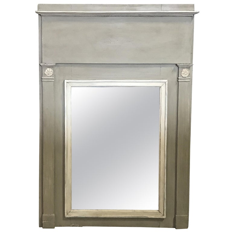 Romantic French Antique Trumeau Mirror in Gray and White For Sale