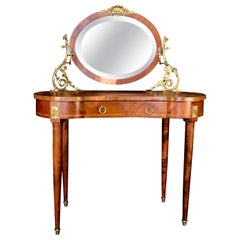 Romantic French Inlaid Walnut and Bronze Dressing Table with Candelabra Arms