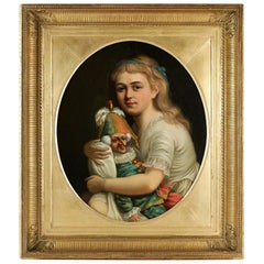 Romantic French School, the Young Girl to the Buffoon, Oil on Canvas, circa 1830