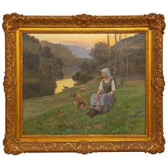 Romantic French Shepherdess 19th Century Painting by Jean Beauduin