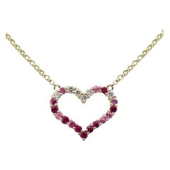 Romantic Gift Ruby Pink Sapphire Diamond Pink Gold Emprty Heart Necklace