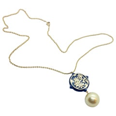 Romantic Gold South Sea Pearl Pendant Necklace in 18 Karat Rose Gold and Horn