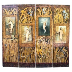 "Romantic Hand Decorated ""Four Seasons"" Arts & Crafts Wood Screen Rhode Island"