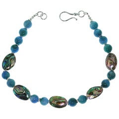 Gemjunky Romantic Iridescent Paua Shell & Teal Agate Necklace & Silver Accents