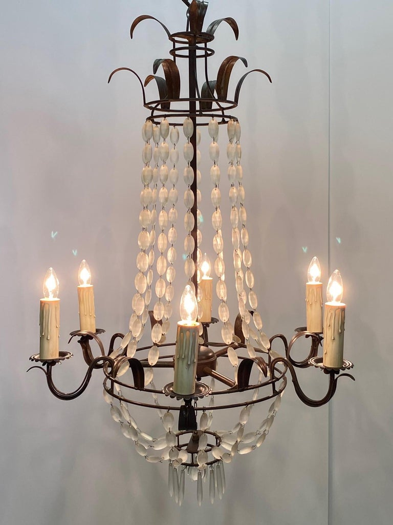 Romantic Italian Empire Style Iron and Frosted Glass Chandelier For Sale 6