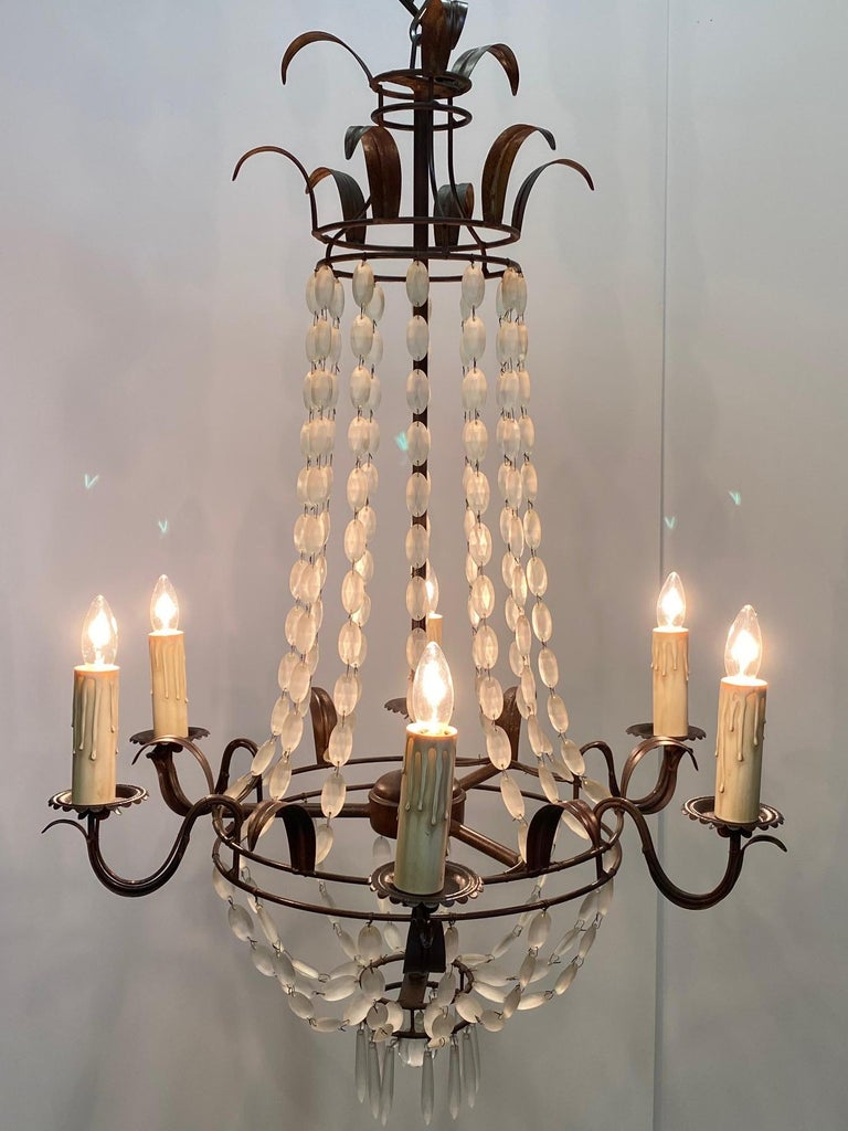 Romantic Italian Empire Style Iron and Frosted Glass Chandelier In Good Condition For Sale In Hopewell, NJ