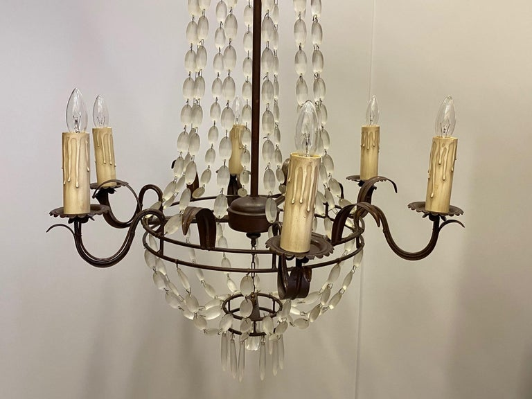 Late 20th Century Romantic Italian Empire Style Iron and Frosted Glass Chandelier For Sale