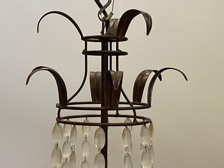 Romantic Italian Empire Style Iron and Frosted Glass Chandelier For Sale 1