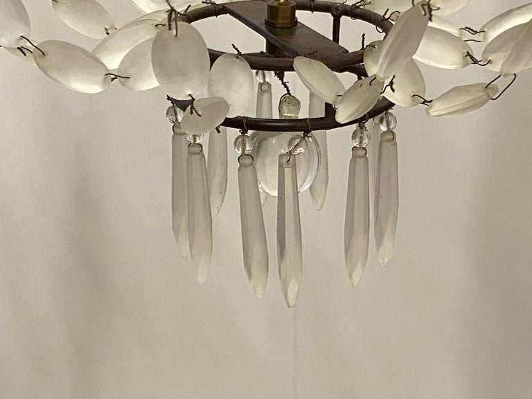 Romantic Italian Empire Style Iron and Frosted Glass Chandelier For Sale 3