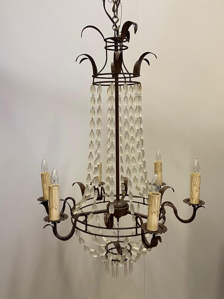 Romantic Italian Empire Style Iron and Frosted Glass Chandelier For Sale 4