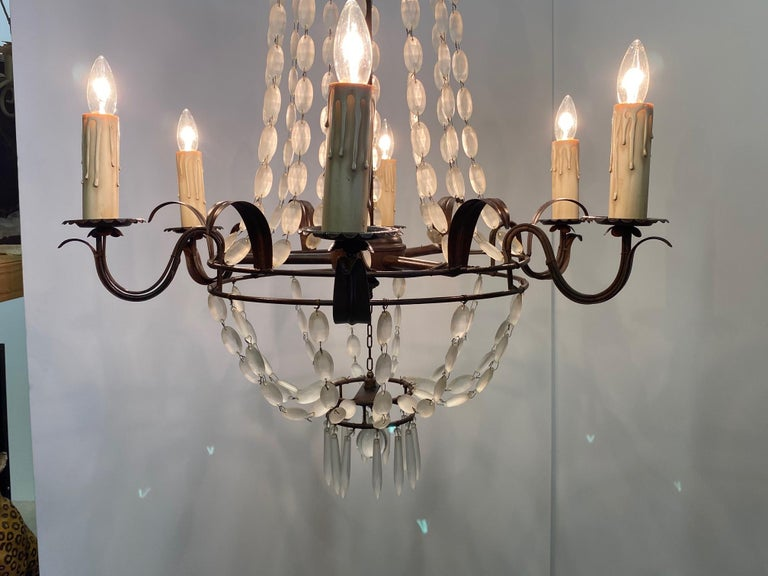 Romantic Italian Empire Style Iron and Frosted Glass Chandelier For Sale 5
