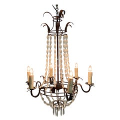 Romantic Italian Empire Style Iron and Frosted Glass Chandelier