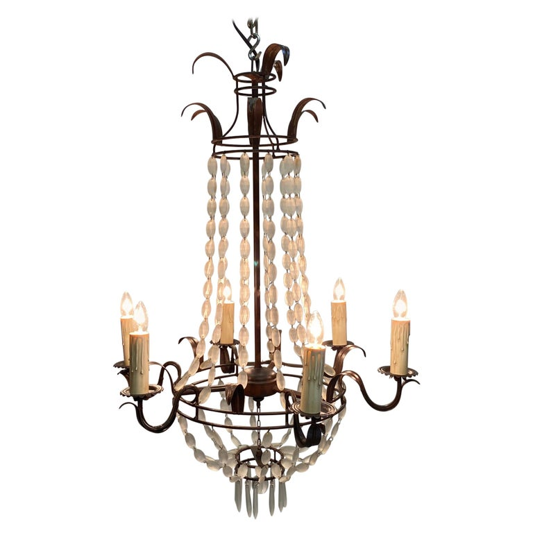 Romantic Italian Empire Style Iron and Frosted Glass Chandelier For Sale