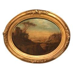 Romantic Italian Oil Painting Oval Landscape on Wood, 1829, Signed