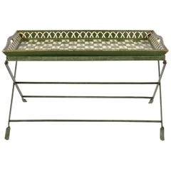Romantic Midcentury English Painted Topiary Tray Table on Painted Folding Stand