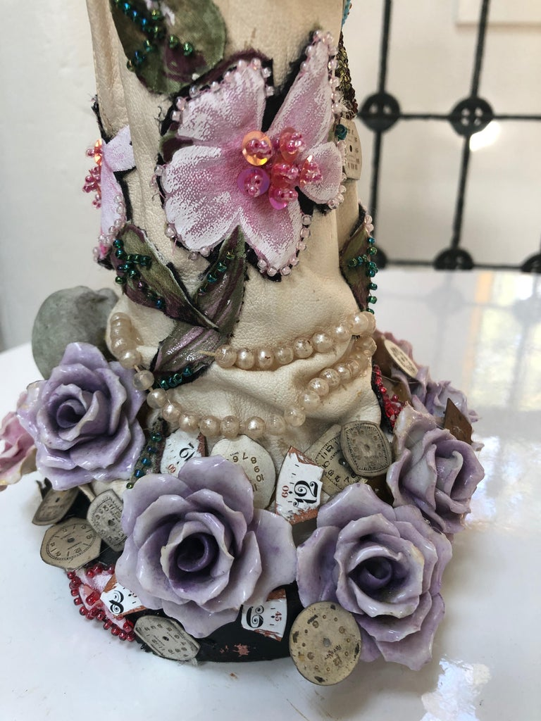 Romantic Mixed-Media Sculpture Titled Hand of Time For Sale 1