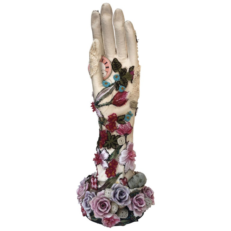 Romantic Mixed-Media Sculpture Titled Hand of Time For Sale