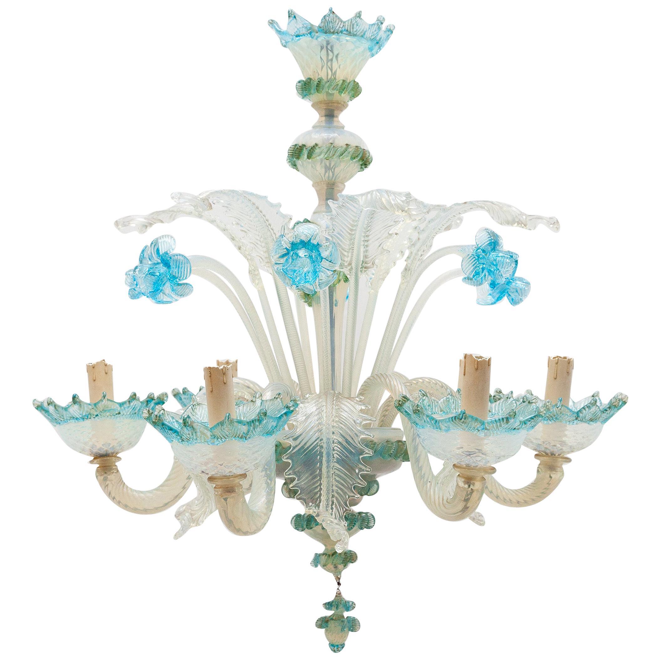 Romantic Murano Blue Opal Glass Chandelier, 1950s, Italy