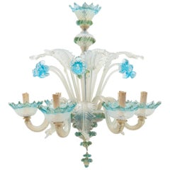 Romantic Murano Blue Opal Glass Chandelier, 1950s, Italy