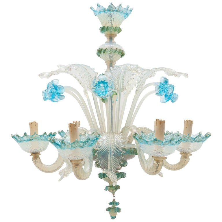 Romantic Murano Blue Opal Glass Chandelier, 1950s, Italy For Sale