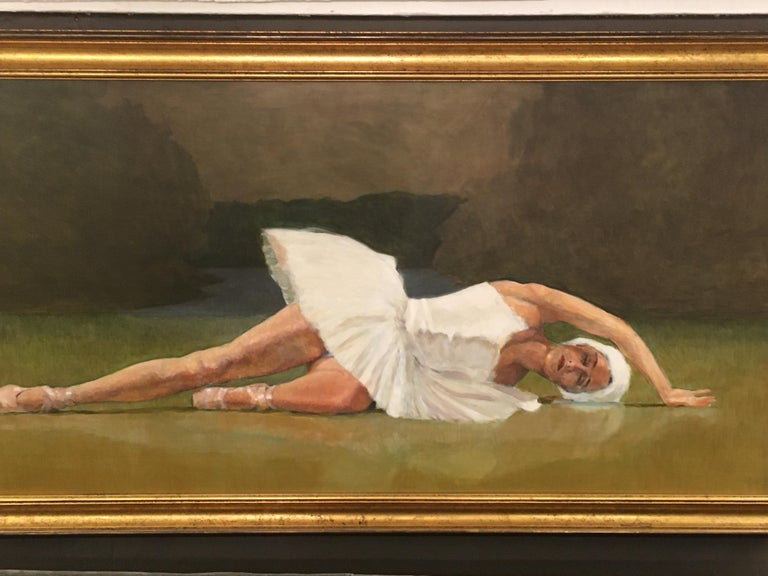 Beautifully rendered oil on board by renowned Bucks County artist, Robert Beck. Subject is a lovely ballerina in white tutu in repose. Frame is bronze giltwood and compliments the color palette of greens, brown, grey and white.