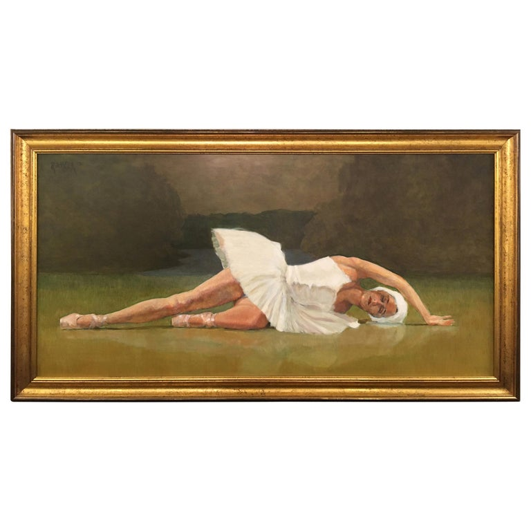 Romantic Original Ballerina Painting by Robert Beck For Sale