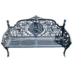 Romantic Ornate Antique French Black Iron Bench with Birds and Nymph
