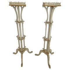 Romantic Pair of French Painted Ivory and Gilded Plant Stands