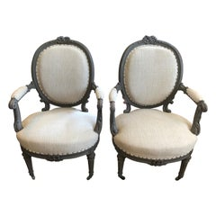 Romantic Pair of Grey Painted French Fauteuil Chairs with Oatmeal Upholstery