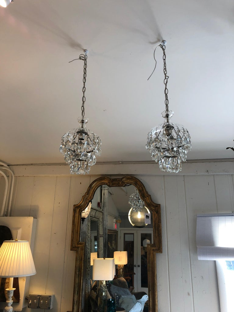 Mid-20th Century Romantic Pair of Pretty Cut Glass and Crystal French Chandelier Pendants For Sale