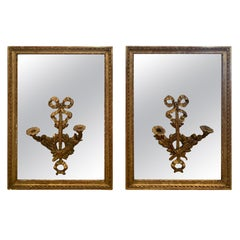 Romantic Pair of Rectangular Antique Mirrors with Candle Sconces