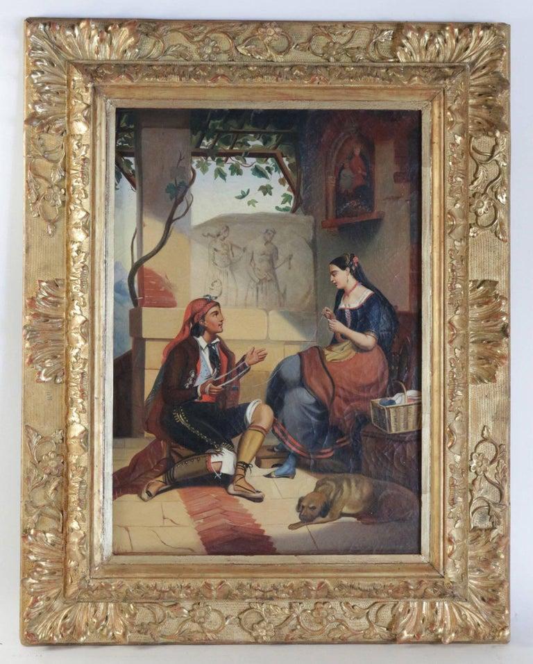 Ornamental oil on canvas, depicting a figurative scene,